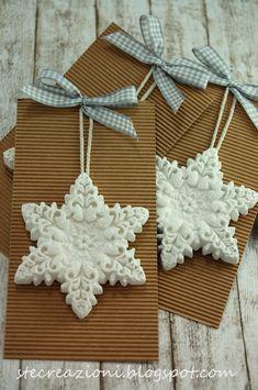 Fiocchi neve in gesso con glitter effetto zucchero