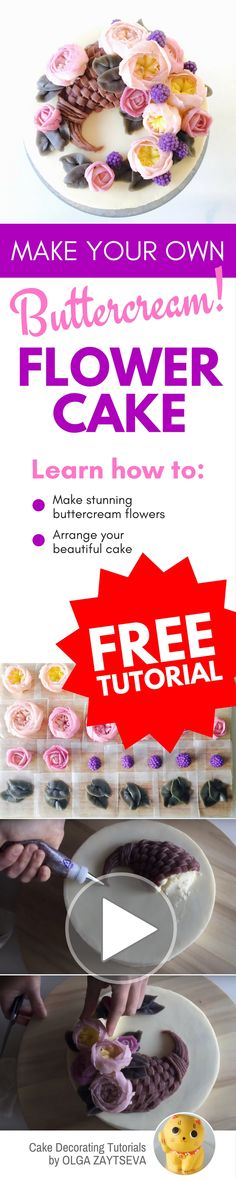 How to make Buttercream horn of plenty / Cornucopia cake - Cake decorating tutorial by Olga Zaytseva. Learn how to make buttercream David Austin roses also known as English Roses and create this quick and easy Thanksgiving horn of plenty flower cake. #cake decorating tutorial #butter cream