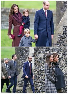 Duchess of Cambridge and Prince William, Duke of Cambridge (R), Prince George of Cambridge, Princess Charlotte of Cambridge followed by Carole, James and Michael Middleton arrive to attend the service at St Mark's Church on Christmas Day on December 25, 2016 in Bucklebury, Berkshire