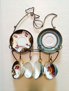 Coffee Tea Cups Hanging Plate Holder Kitchen Decor by ACertainFeel, $35.00