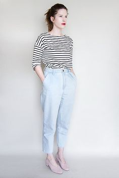 Get this look: http://lb.nu/look/8601779  More looks by Elle Byrd: http://lb.nu/ellebyrd  Items in this look:  Skin Az Red Lips, Sense Of Place Striped Tee, Gu Mom Jeans, Cos Pink Heels   #casual #minimal #vintage