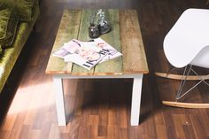 DIY Ikea Lack Hack coffee table using recliamed wood from an old barn Coffee Table Ikea Hack, Door Coffee Tables, Ikea Table, Ikea Chair, Diy Chair, Ikea Furniture, Recycling Furniture, Desk Chairs, Ikea Hacks