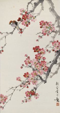 Huang Huanwu Two paintings Hanging scrolls, both ink and color on pa… - Chinese Ideen Japanese Painting, Chinese Painting, Chinese Art, Cherry Blossom Art, Chinese Cherry Blossom, Deco Nature, Art Asiatique, Korean Art, Japan Art