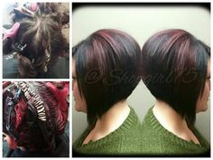 Hair by Crystal Johnson Pinwheel technique stack bob fall colors