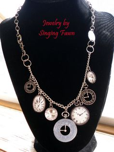 "$30.00  Decorative Time Piece and Rhinestone Charm Necklace  8 1/2"" long.  Free shipping. www.jewelrybysingingfawn.com"