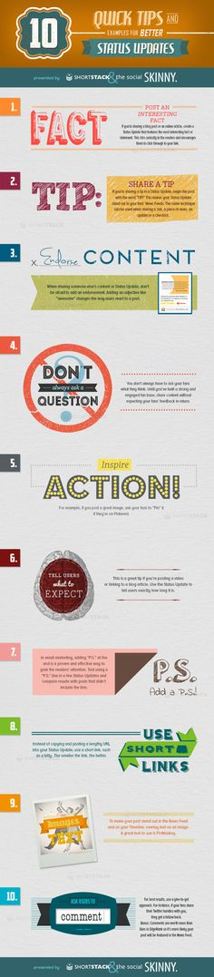 10 Quick Tips and examples for better Status Updates #Infographic by shortstack en the social skinny via Bit Rebels