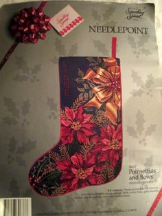 Candamar Christmas Needlepoint Stocking Kit 90637 Poinsettias and Bows Vtg 1990  #CandamarDesigns