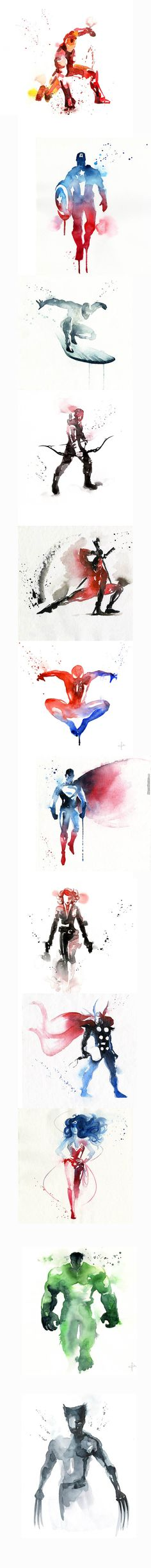 Ink wash SUPER-HERO watercolor paintings, because Wonder Woman and Superman are not Avengers or Marvel. Marvel Comics, Bd Comics, Marvel Vs, Marvel Heroes, The Avengers, Avengers Women, Comic Books Art, Comic Art, Iron Man