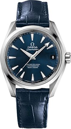 Omega Mens Seamaster150 Swiss Automatic Stainless Steel and Leather Dress Watch ColorBlue Model 23113392103001 >>> See this great product.