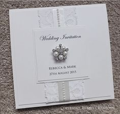 Lace And Pearl Pocket Wedding Invite In Ivory