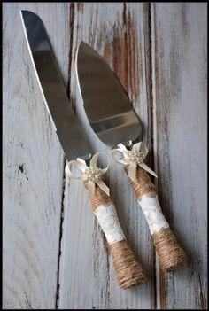 Amazon.com: Rustic Country Wedding Burlap Twine Knife and Cake Server Set (Ivory): Kitchen & Dining