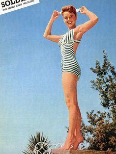 Debbie Reynolds Soldier Magazine - 1955 Debbie Reynolds in Swimsuit on Back Cover Eddie Fisher, Carrie Fisher, Hollywood Gossip, Old Hollywood, Debbie Reynolds, Bathing Beauties, British Army, Vintage Magazines, Famous Women