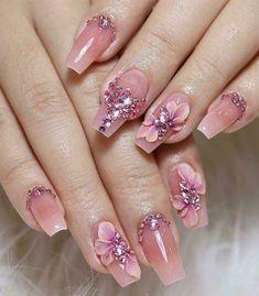 3d Nail Designs, Cute Acrylic Nail Designs, 3d Acrylic Nails, Gel Nails, Pastel Nails, 3d Flower Nails, Bridal Nail Art, Nails Design With Rhinestones, Elegant Nails