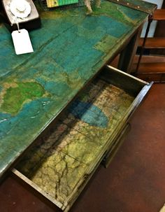 map on side table
