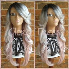ON SALE Silver/Pink Ombre Lace Front Wig, Long Curly Gray/Silver... ($95) ❤ liked on Polyvore featuring disney