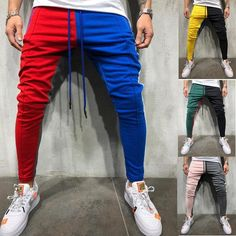 Mens Track Pants Striped Joggers Sweatpants Slim Fit Drawstring Long Trousers US Skinny Joggers, Mens Joggers, Jogging, Cool Outfits For Men, Casual Outfits, Jogger Pants Style, Fashion Pants, Mens Fashion, Sports Trousers