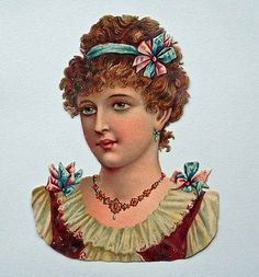 LARGE VICTORIAN DIE CUT EMBOSSED CHROMO SCRAP PRETTY GIRL