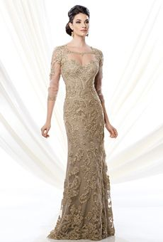 gold mother of the bride dresses | Ivonne D for Mon Cheri | Mother of the Bride Dress