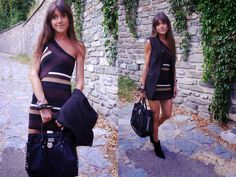 Striped One shoulder Asymmetrical Transitional Dress