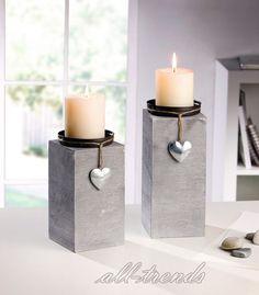 Kerzenhalter Dekosäule Holz grau silber 2er Set Kerzenständer Herz Shabby Look in Möbel & Wohnen, Dekoration, Kerzenständer & Teelichthalter | eBay!
