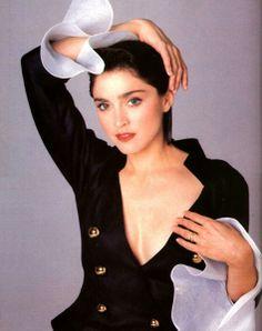 A jacket, unbuttoned….Madonna by Francesco Scavullo for Harpers Bazaar (1988)