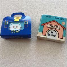Kleine niedliche Radiergummi mit lustigen Verpackungen: Katze in Tasche & Hund in Hütte -  ❤️cat & dog Peche von Chikyu Eraser Honobono Japan