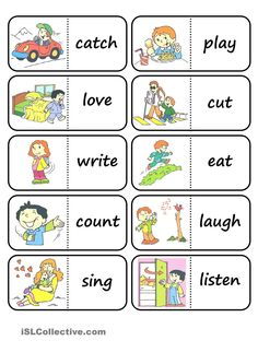 action words domino - English ESL Worksheets for distance learning and physical classrooms Kids English, English Games, English Verbs, English Resources, English Activities, English Lessons, English Vocabulary, English Grammar, Teaching English