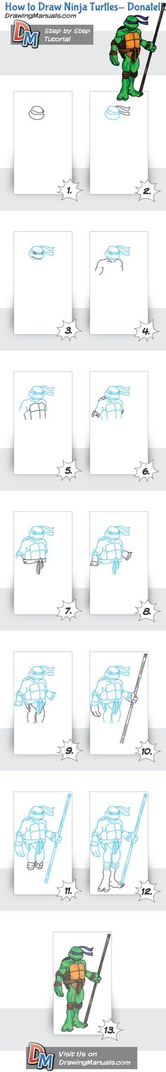 Second tutorial for Ninja Turtle-Donatello http://drawingmanuals.com/manual/how-to-draw-ninja-turtles-donatello/: