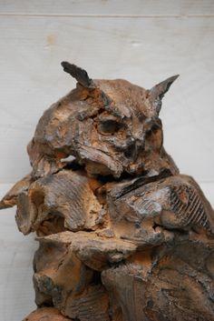 Owl by Gambino Pottery Sculpture, Bird Sculpture, Animal Sculptures, Abstract Sculpture, Bronze Sculpture, Ceramic Angels, Ceramic Owl, Cement Art, Art Nouveau