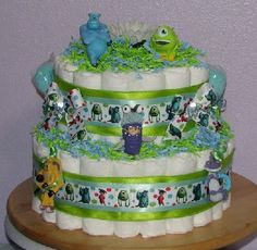 monsters inc Baby Shower | Monsters Inc Diaper Cake