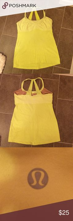 Workout tank top Neon yellow, workout tank top with built in, adjustable support/bra. Tank top is used but has no noticeable signs of damage. Great condition! lululemon athletica Tops Tank Tops