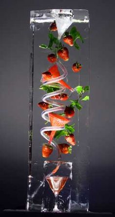 Strawberry-mint-ice luge. Ice sculptures