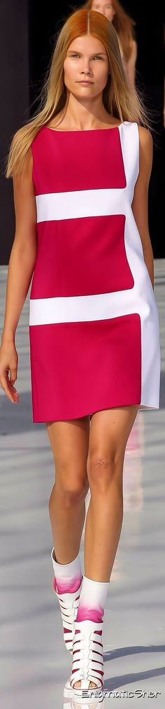 @roressclothes clothing ideas #women fashion  red white dress Maxime Simoens Spring Summer 2015