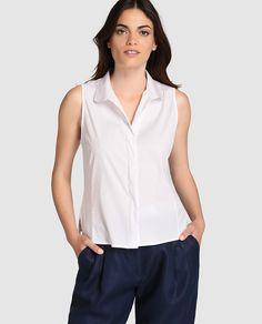 Blusa de mujer Armani Collezioni blanca con botones ocultos