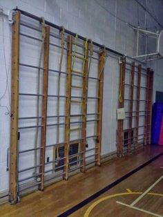 Climbing frames in the school gymnasium.