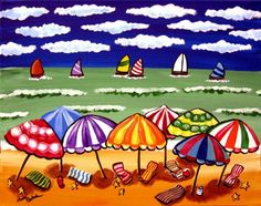 Beach Umbrellas Sailboats Seascape Whimsical by reniebritenbucher, $139.00
