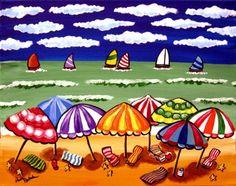 Whimsical beach scene with umbrellas and sailboats, fun folk art!.... summer...:)
