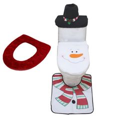 Feoya Christmas Snowman Toile Seat Cover Set Santa Rug Bathroom Mat Xmas Decoration Warm Soft