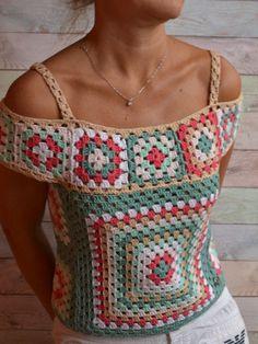 Crochet Summer Lace Top Ethic style Blouse Multicolor Crochet Motif Cotton Top open shoulders One of # crochet motif top CROCHET Crop Blouse Multicolor off the shoulder Top Granny square Crochet Boho Top woman Point Granny Au Crochet, Débardeurs Au Crochet, Pull Crochet, Crochet Blouse, Cotton Crochet, Crochet Stitches, Crochet Patterns, Crochet Style, Knitting Patterns