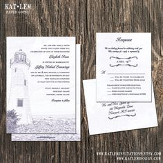 Lighthouse Wedding Invitation  Lighthouse by katleminvitations, $40.00