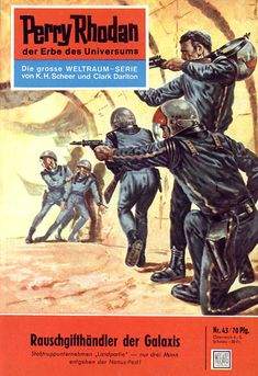 """Perry Rhodan - No. 43: Dealers of the Galaxy - by Kurt Mahr: Cover artwork by """"Johnny"""" Bruck: Was US issue #35 - called """"Beware the Microbots"""""""