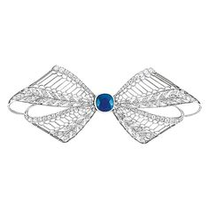 Edwardian Platinum, Sapphire and Diamond Filigree Bow Brooch, Tiffany & Co. The filigree brooch centering one cushion-shaped sapphire approximately .90 ct., accented by small old European and rose-cut diamonds, signed Tiffany & Co., circa 1915, approximately 8 dwt.