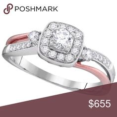 10k White Gold Womens Natural  💎 Ring 1/2 Cttw 10k White Gold Womens Natural Round Diamond 2-tone Bridal Wedding Engagement Anniversary Ring 1/2 Cttw  Product Specification Metal Type10kt Two-tone Gold Diamond Carat1/2 Ct.t.w. --- .21 carat center solitaire Diamond Clarity / ColorSI3 / G-H Width5.5 mm ( .22 inches ) Width of shank1.5 mm Ring Size7 Gram Weight3.48 grams (approx.) StyleRound Item NumberLarimaro -105873 Jewelry Rings