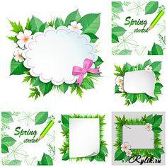 Весенняя рамка с цветами и зелеными листьями - векторный клипарт