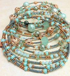 Aqua & Copper Oval Memory Wire Bracelet by BUNNY123 on Etsy, $60.00