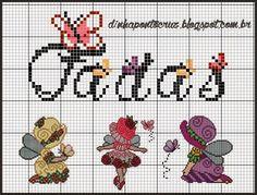 Para salvar o monograma completo clique aqui! http://dinhapontocruz.blogspot.com.br/2014/06/monograma-fadas-sunbonetes.html