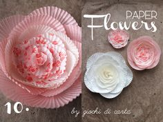 Instructions are not in English, but still seems like a good tutorial. Paper Flower Patterns, Paper Flower Tutorial, Paper Flowers Diy, Handmade Flowers, Flower Crafts, Diy Paper, Paper Crafts, Flower Diy, Toddler Crafts