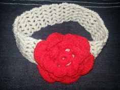 Crochet hairband with a red crochet flower. Crochet Hairband, Crochet Flowers, Hair Band, Crocheting, Beanie, Craft Ideas, Knitting, Hats, Unique