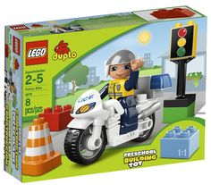 LEGO DUPLO Police Bike This policeman is always on the move. Geared up with a helmet and police uniform, he rides his police bike and makes sure that traffic is smooth. LEGO DUPLO Police Bike is a 8 piece set with a mini figure of a policeman, police bike, traffic lights and a traffic cone. The policeman figure can actually sit on the bike and go for a ride