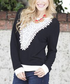 Loving this Black & Ivory Crochet-Front Top on #zulily! #zulilyfinds